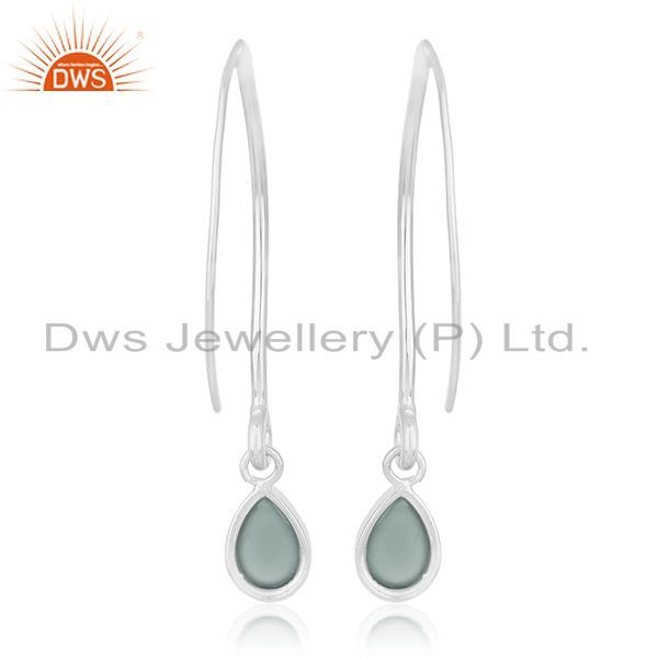 Suppliers Aqua Chalcedony Gemstone 925 Silver Dangle Earrings Custom Jewelry Manufacturers
