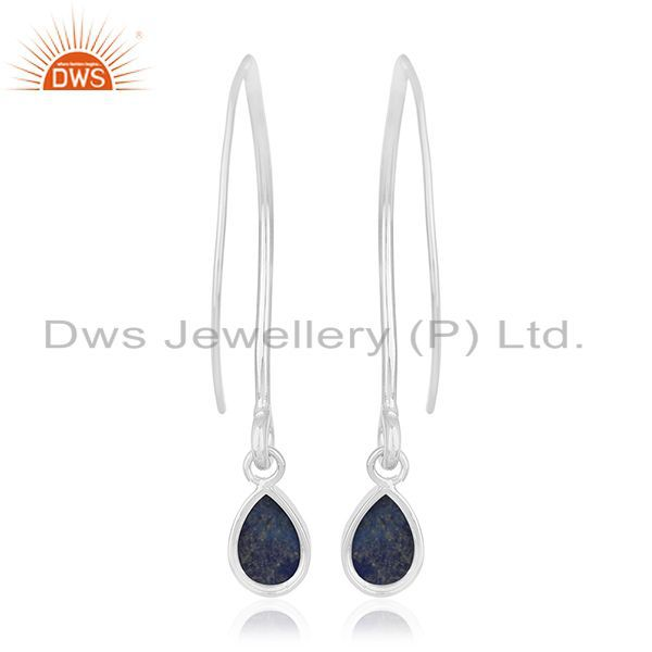 Suppliers Natural Lapis Lazuli Gemstone Party Wear Silver Earring Jewelry