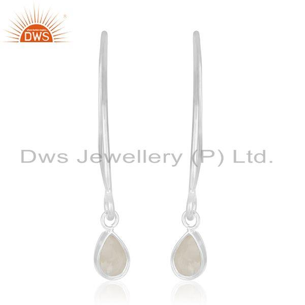 Suppliers Natural Rainbow Moonstone 925 Sterling Silver Earrings Manufacturer India