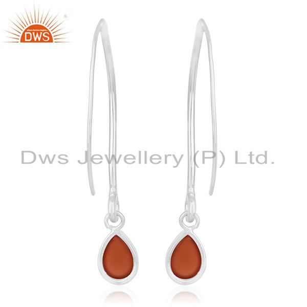 Suppliers Red Onyx Gemstone 925 Sterling Silver Dangle Earrings Wholesale Suppliers Jaipur