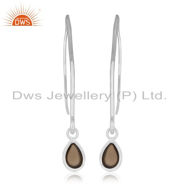 Suppliers 92.5 Sterling Silver Smoky Quartz Gemstone Dangle Earrings Private Label Jewelry