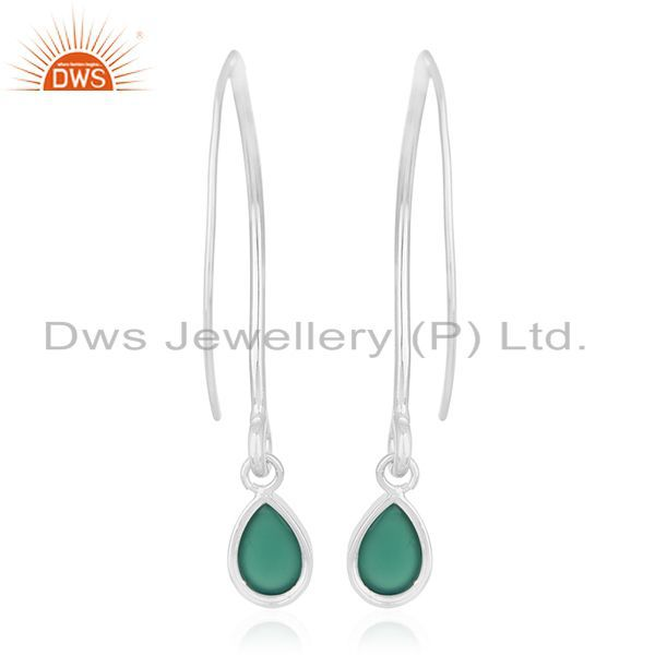 Suppliers Private Label 925 Sterling Silver Green Onyx Gemstone Earrings Manufacturers