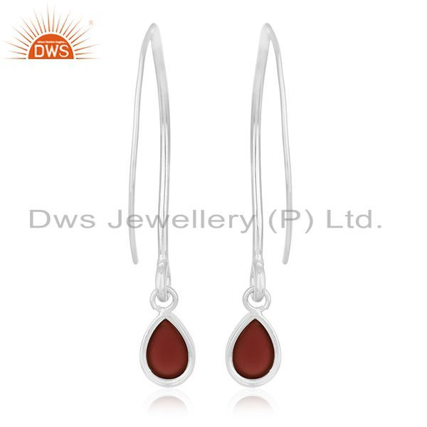 Suppliers Custom 925 Sterling Silver Red Onyx Gemstone Jewelry Earrings Manufacturers