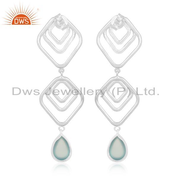 Suppliers Hammered Sterling Silver Aqua Chalcedony Gemstone Earring For Girls