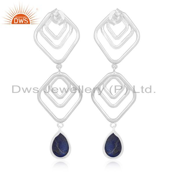 Suppliers Lapis Lazuli Gemstone Handmade 925 Silver Earring Jewelry Manufacturer