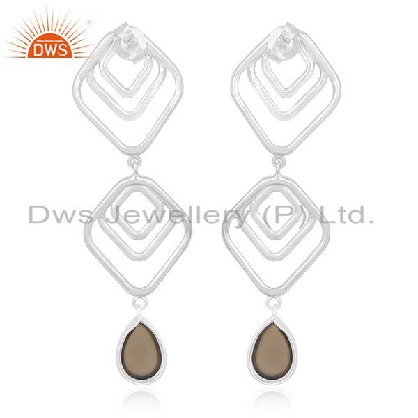 Suppliers Manufacturer of Smoky Quartz Gemstone 925 Silver Women Earrings