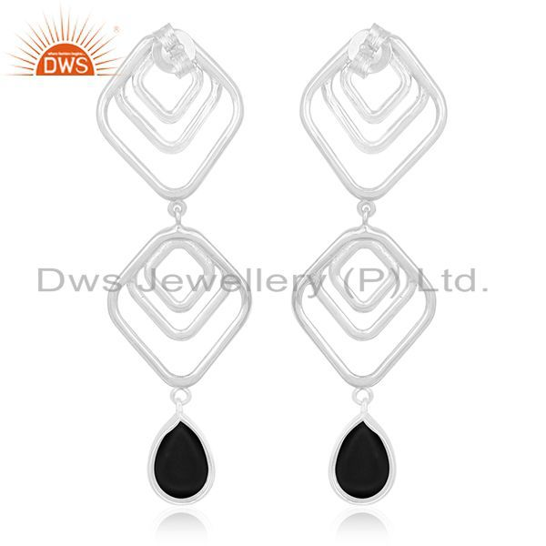 Suppliers Jewelry Manufacturer of Onyx Black Gemstone 925 Silver Earrings