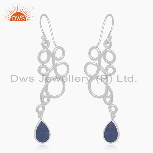 Suppliers Lapis Lazuli Gemstone 925 Silver Handmade Earring Jewelry Wholesale Suppliers