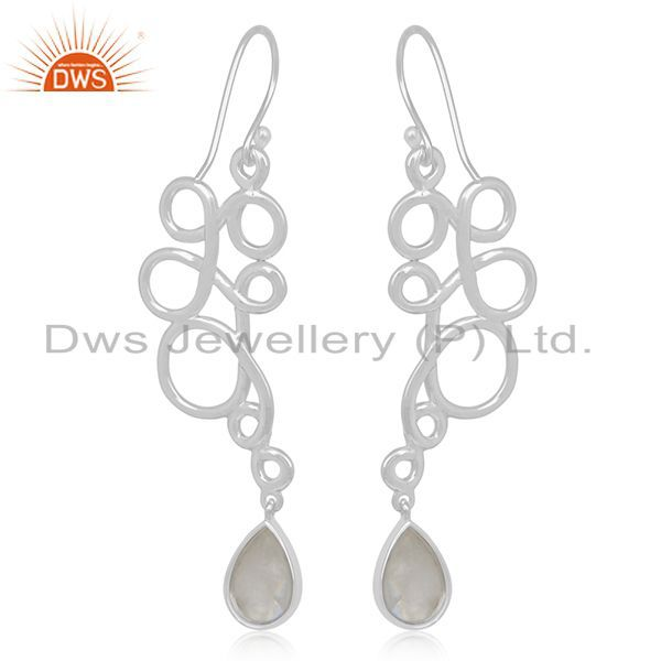 Suppliers Rainbow Moonstone 925 Silver Handmade Designer Earring Manufacturer
