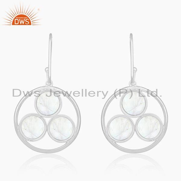 Suppliers Rainbow Moonstone 925 Sterling Silver Drop Earrings manufacturer India