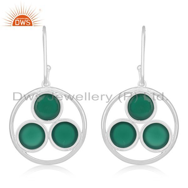Suppliers Handmade 925 Sterling Silver Green Onyx Gemstone Earring Manufacturer of Jewelry