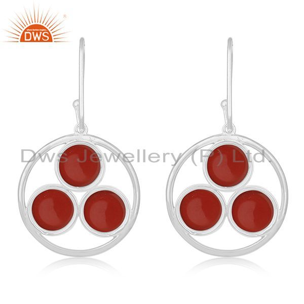 Suppliers Red Onyx Gemstone Round Handmade 925 Sterling Silver Earring Manufacturer