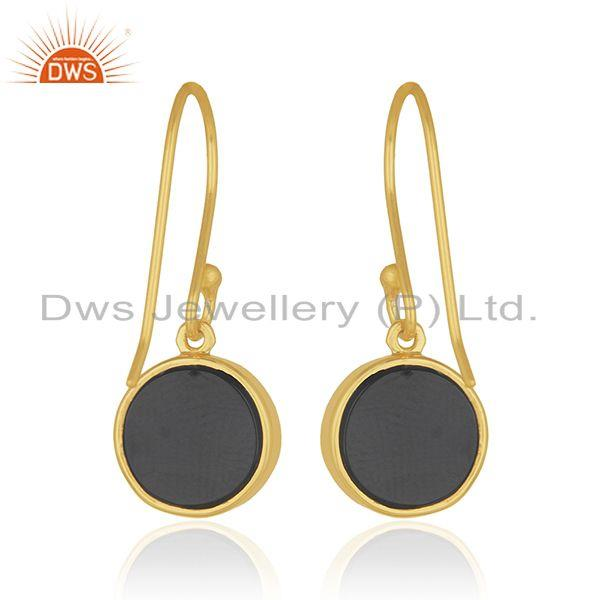 Suppliers 92.5 Sterling Silver Gold Plated Black Onyx Gemstone Peace Design Earrings