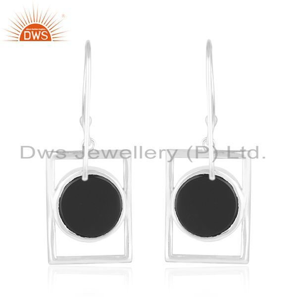 Suppliers Onyx Gemstone Fine Sterling 92.5 Silver Peace Sign Girls Earrings Manufacturers