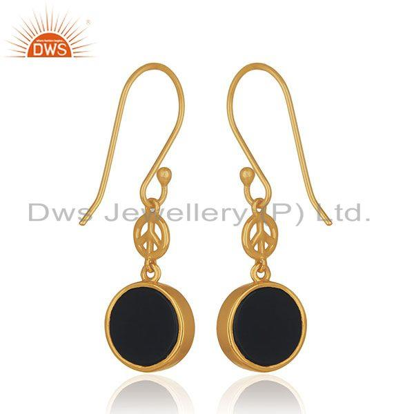 Suppliers Gold Plated Sterling Silver Black Onyx Gemstone Peace Charm Earring Manufacturer