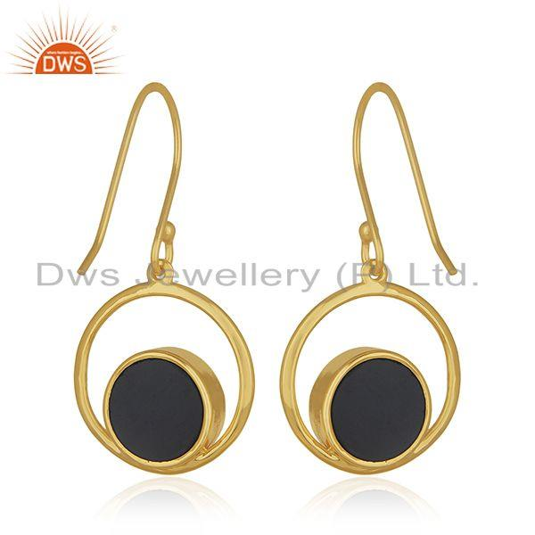 Suppliers 18k Gold Plated Handmade 925 Silver Designer Peace Sign Onyx Gemstone Earrings