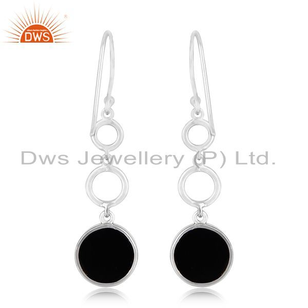 Suppliers White Rhodium Plated 925 Silver Onyx Gemstone Peace Charm Earring Jewelry