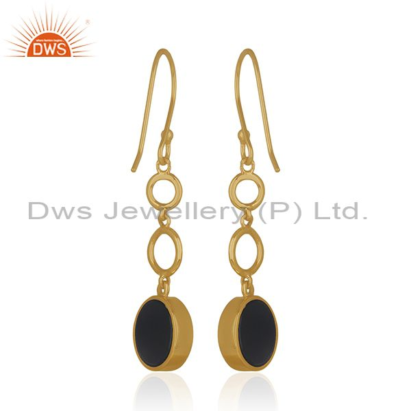 Suppliers Gold Plated 925 Sterling Silver Black Gemstone Lucky Peace Charm Earrings