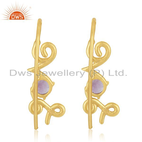 Suppliers Custom Love Initial 925 Silver Gold Plated February Birthstone Earring Suppliers