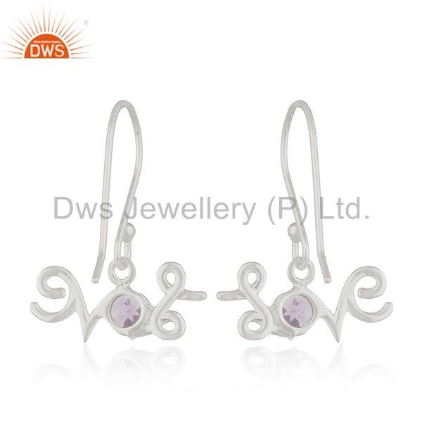 Suppliers Fine Sterling Silver Initial Love Amethyst Custom Earring Manufacturer India