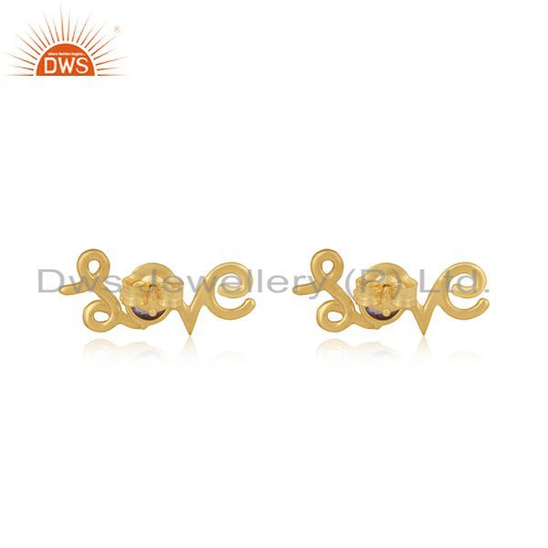 Suppliers Amethyst Gemstone 925 Silver Gold Plated Initial Love Valentine Stud Earrings