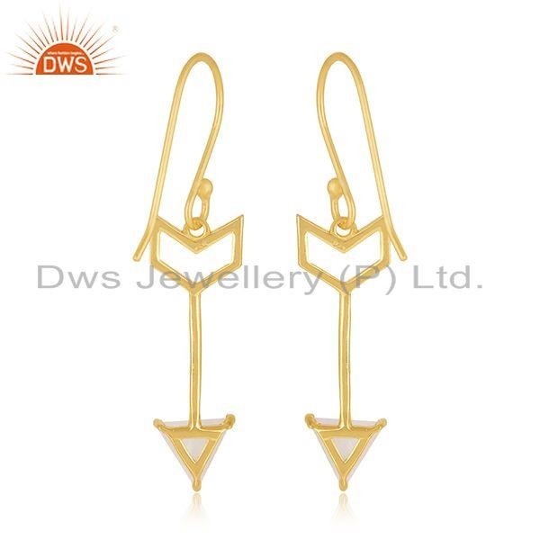 Suppliers Arrow Desgin 925 Silver Gold Plated Moonstone Dangle Earring Wholesale