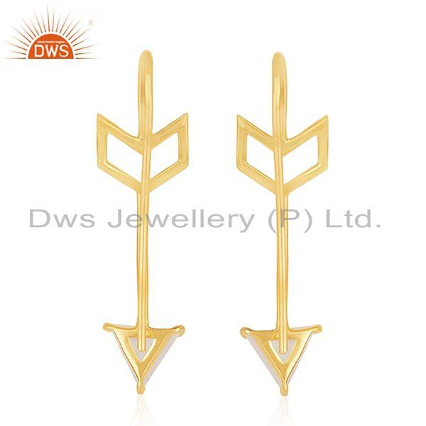 Suppliers Arrow Design Sterling Silver Rainbow Moonstone Earring Jewelry Wholesale