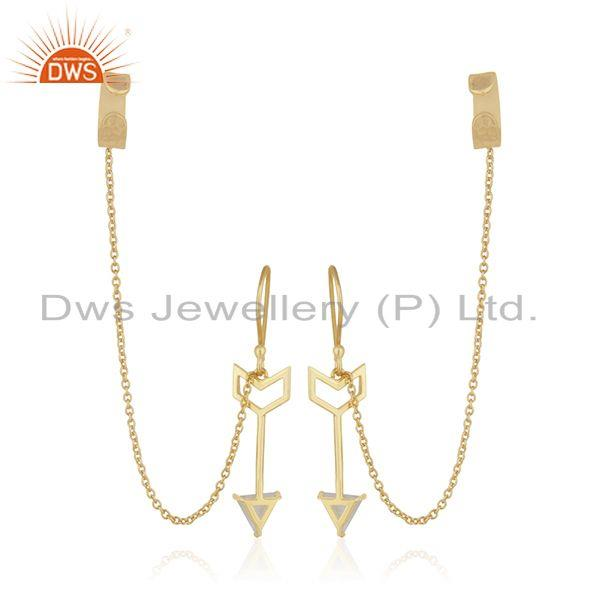 Suppliers Arrow Design 925 Silver Gold Plated Designer Ear Cuff Earrings Suppliers