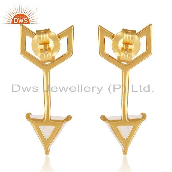 Suppliers Custom Arrow Shape Gold Plated Sterling Silver Gemstone Earring Manufacturers