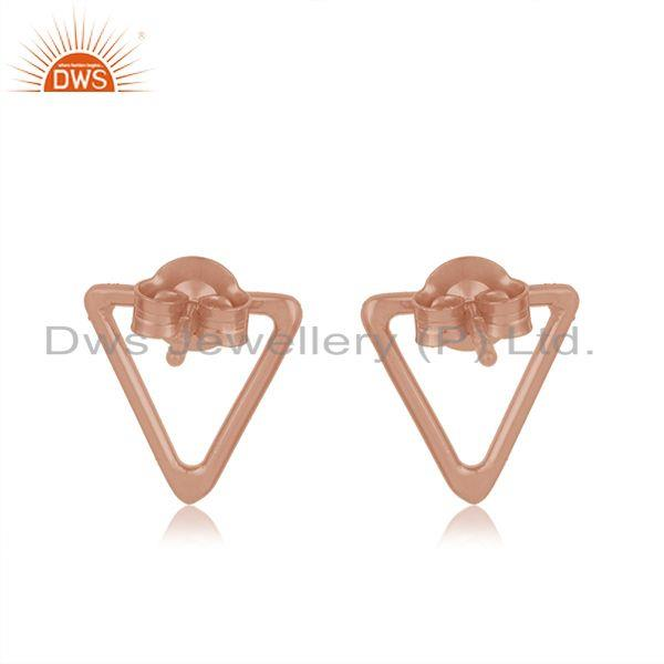 Suppliers Rose Gold Plated 925 Sterling Silver Triangle Shape Stud Earrings Manufacturer