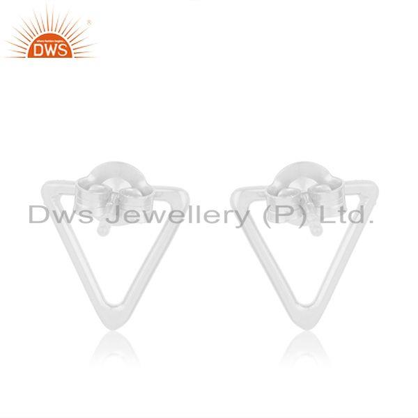 Suppliers Handmade Triangle Shape 92.5 Sterling Silver Stud Earrings Manufacturers India