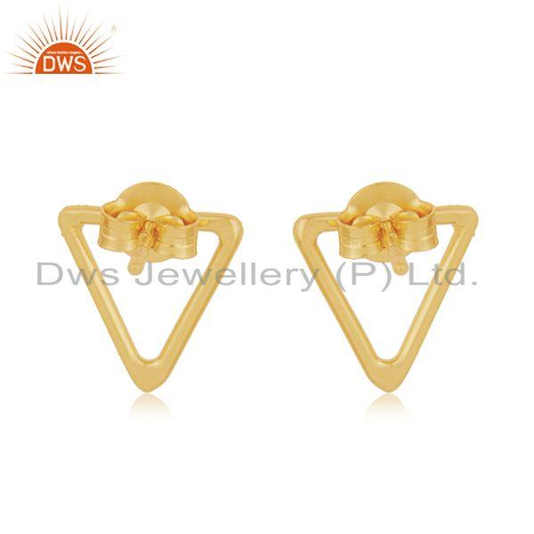 Suppliers Triangle Shape 925 Sterling Silver Gold Plated Stud Earrings Manufacturer Jaipur