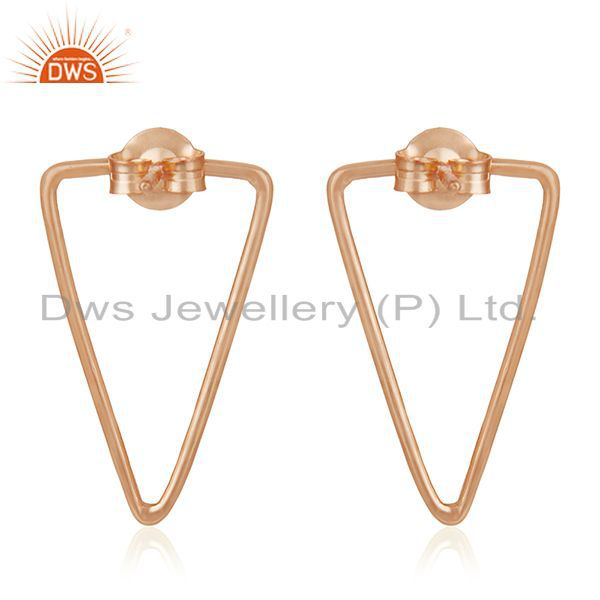 Suppliers Rose Gold Plated 925 Sterling Silver Triangle Design Earrings Wholesale