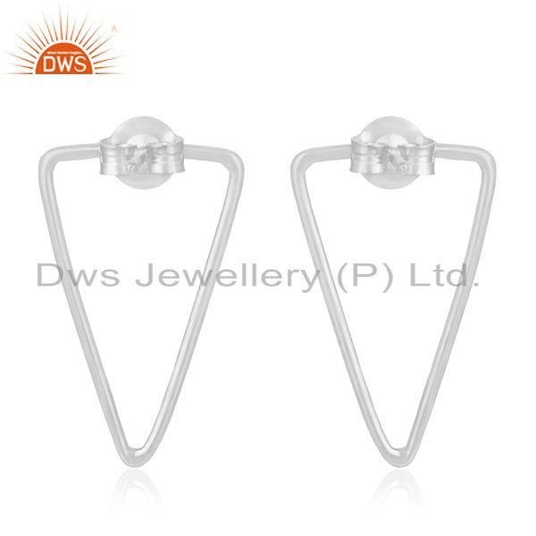 Suppliers Fine Sterling 92.5 Silver Designer Triangle Earrings Jewelry for Retailers