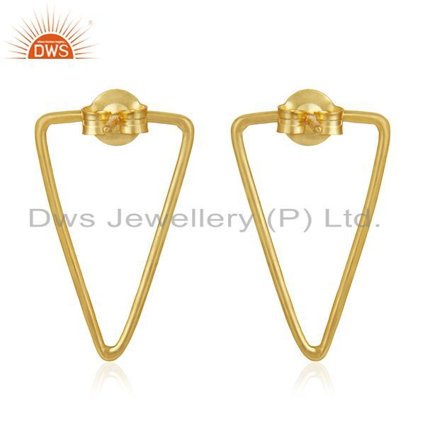 Suppliers 92.5 Sterling Silver 14k Gold Plated Triangle Earrings Wholesale