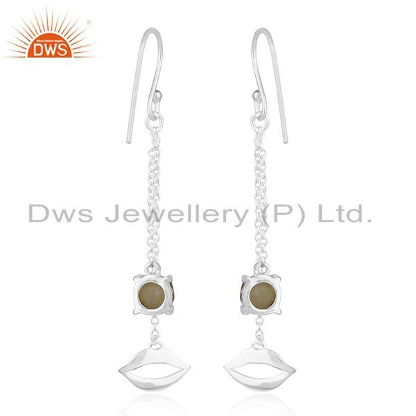 Suppliers Citrine Gemstone 925 Sterling Silver Lip Design Chain Earrings Wholesale