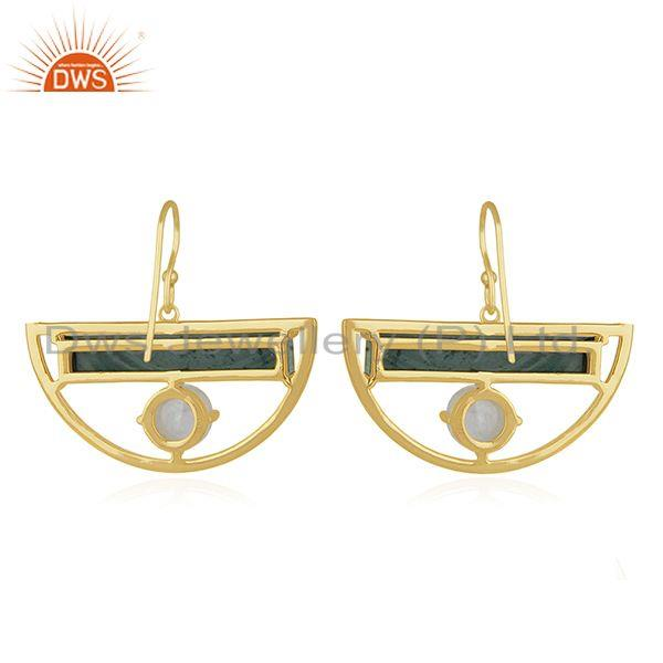 Suppliers Gold Plated Half Moon Design 925 Silver Malachite Gemstone Earring Manufacturer