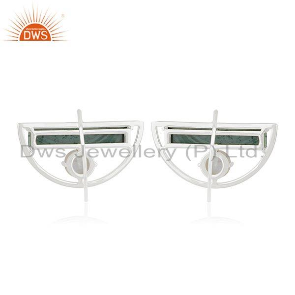 Suppliers Sterling Fine Silver Half Moon Malachite And Rainbow moonstone Earring Supplier