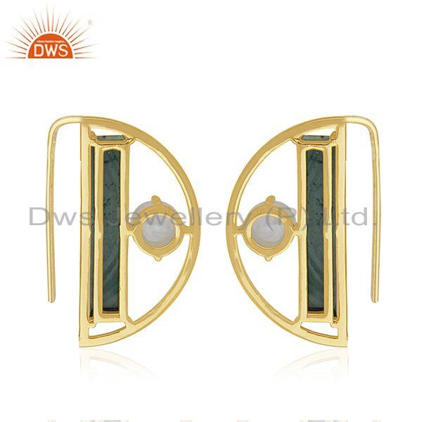Suppliers 14k Gold Plated 925 Silver Half Moon Design Multi Gemstone Earring Manufacturers