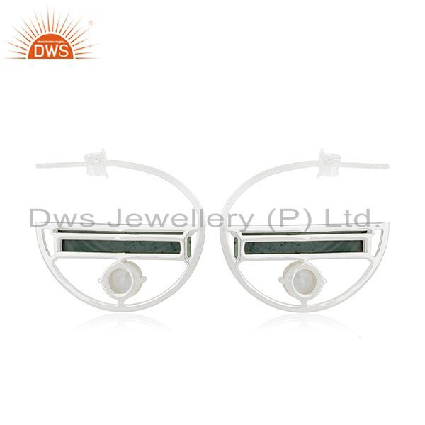 Suppliers Ranibow Moonstone and Malchite Half Moon Design Earring Manufacturers