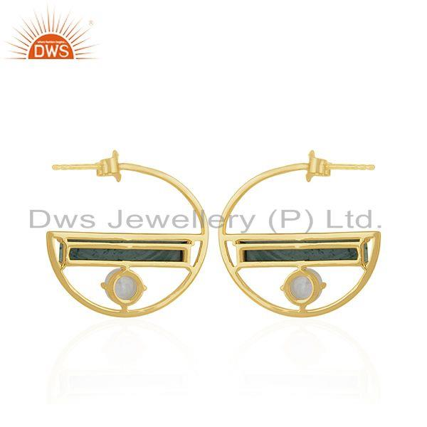 Suppliers Half Moon Desing Gold Plated 925 Silver Malachite &  Moonstone Earring Wholesal
