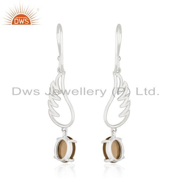 Suppliers Smoky Quartz 925 Sterling Fine Silver Angel Wing Earring Manufacturer