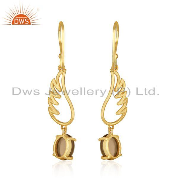 Suppliers Angle Wing 925 Silver Gold Plated Smoky Quartz Earring Manufacturer