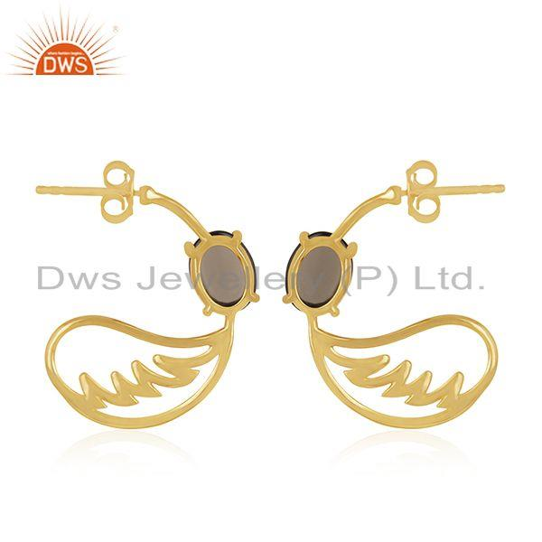 Suppliers Angel Wing 925 Silver Gold Plated Smoky Quartz Earring Manufacturer from India