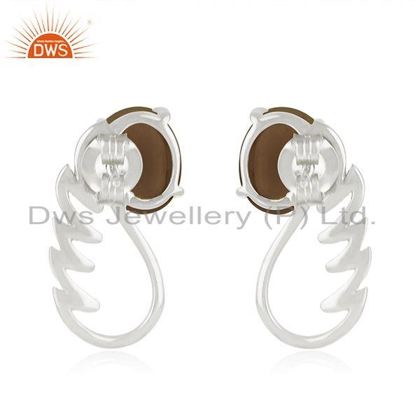 Suppliers Fine Sterling Silver Smoky Quartz Gemstone Angel Wing Stud Earring Manufacturers