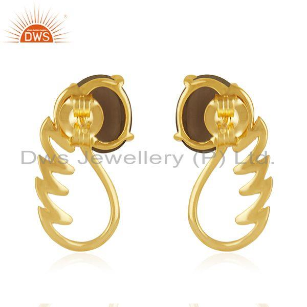 Suppliers 18k Gold Plated 925 Silver Smoky Quartz Gemstone Angel Wing Earring Wholesale