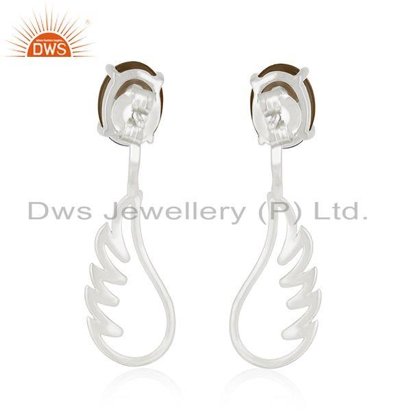 Suppliers 925 Sterling Fine Silver Angel Wing Smoky Quartz Dangle Earring Manufacturers