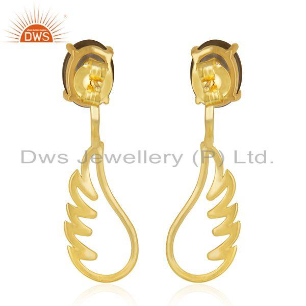 Suppliers Gold Plated 925 Sterling Silver Angel Wing Smoky Quartz Earring Manufacturer