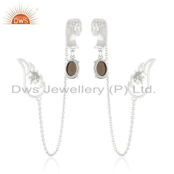 Suppliers Angel Wing 925 Fine Silver Smoky Quartz Ear Cuff Chain Earring Manufacturers