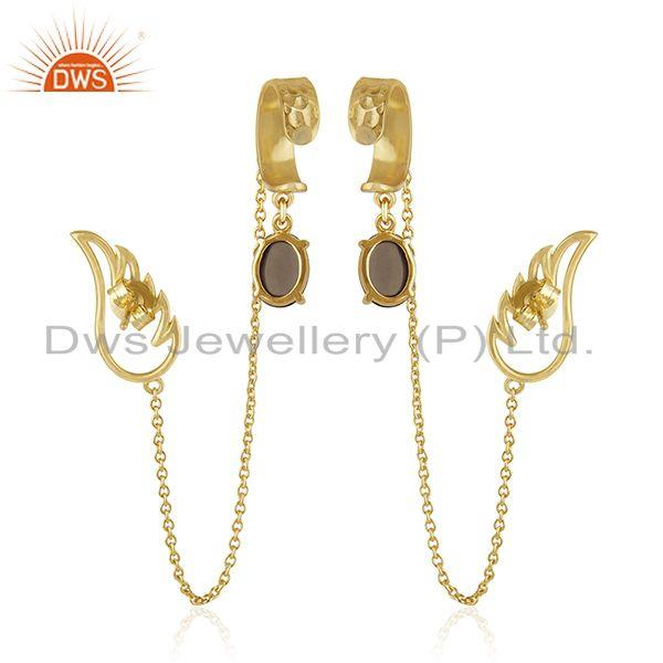 Suppliers Angel Wing 925 Sterling Silver Gold Plated Ear Cuff Earring Manufacturers